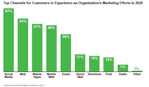 Top Channels for Customers to Experience an Organization's Marketing Efforts in 2020