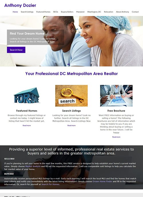 Anthony Dozier Website After Screen Shot