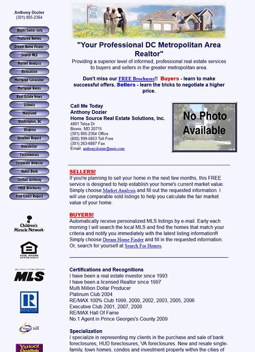 Anthony Dozier Website Before Screen Shot