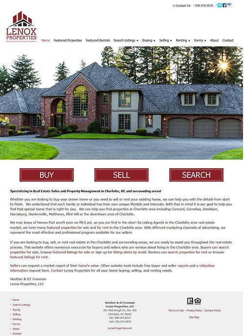 LenoxProperties.com Website After