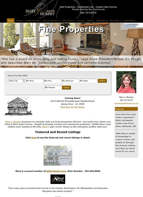 Real Estate website - maryjmurphy.com after