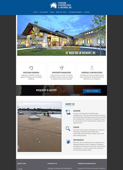 Conover Construction & Roofing's website after