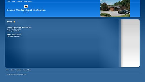 Conover Construction & Roofing's website before