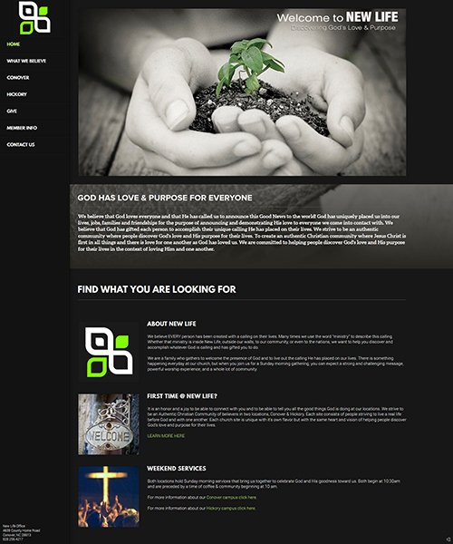 New Life Authentic Christian Community's old website