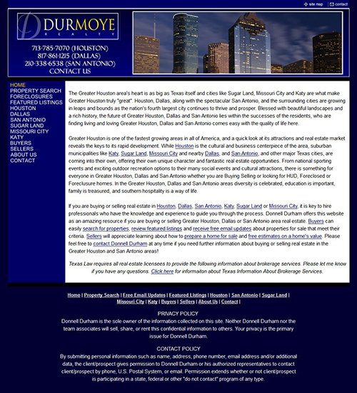 DurmoyeRealty.com Website Before