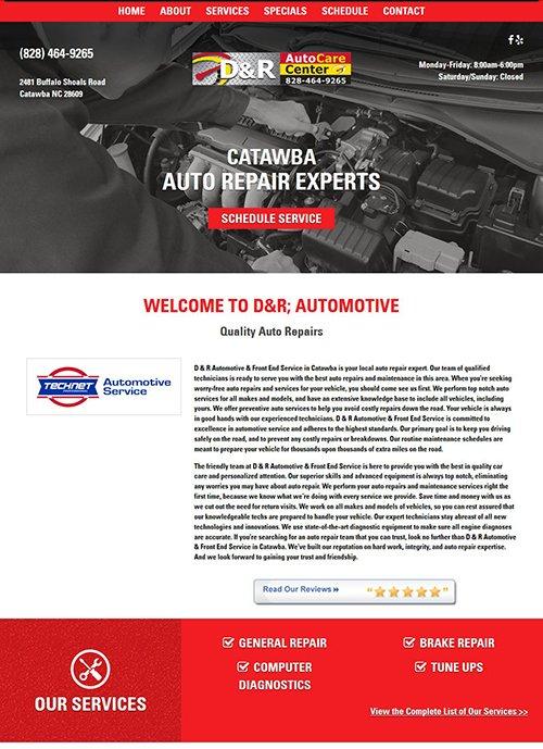 D & R Automotive & Front-End Service Website Before