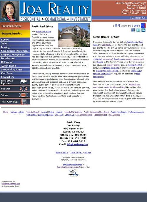 Joe Realty Website Before