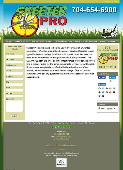 Skeeter Pro Website Before